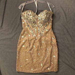 Sherry Hill Short Strapless Dress